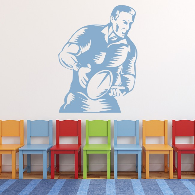 Rugby player running wall sticker sports wall art for Boys rugby bedroom ideas