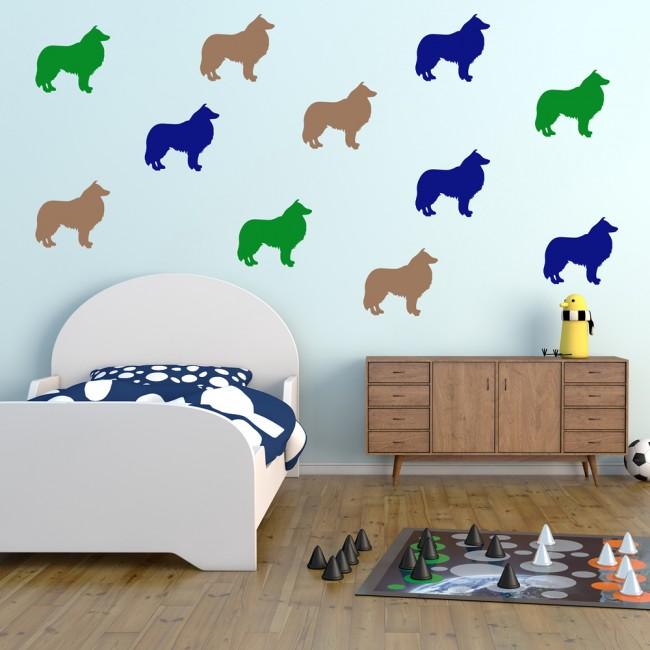 Sheep Wall Art Home Decor ~ Collie sheep dog wall sticker pack pet animals decal