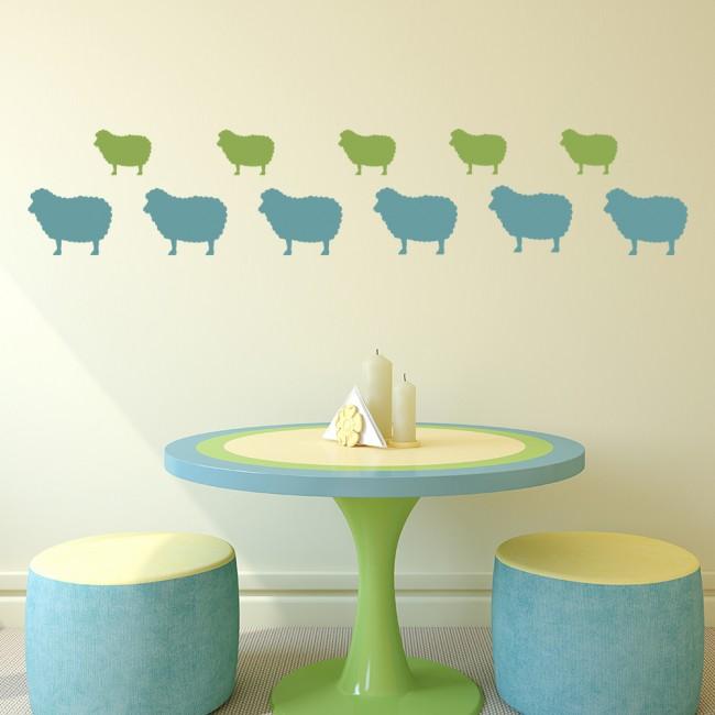 Sheep Wall Art Home Decor ~ Sheep wall sticker pack farm animals decal kitchen
