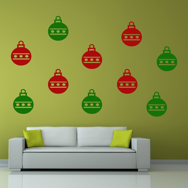 Bauble Silhouette Wall Sticker Creative Multi Pack Wall Decal Art