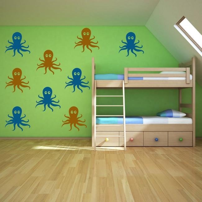 Cartoon Octopus Wall Sticker Creative Multi Pack Wall Decal Art