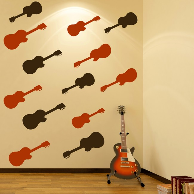 Acoustic Guitar Silhouette Wall Stickers Creative Multi Pack Wall ...