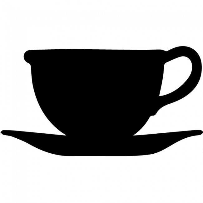 tea cup and saucer silhouette wall stickers creative multi