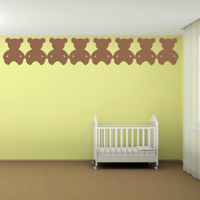 Sitting Teddy Bear Silhouette Wall Sticker Creative Multi Pack Wall ...
