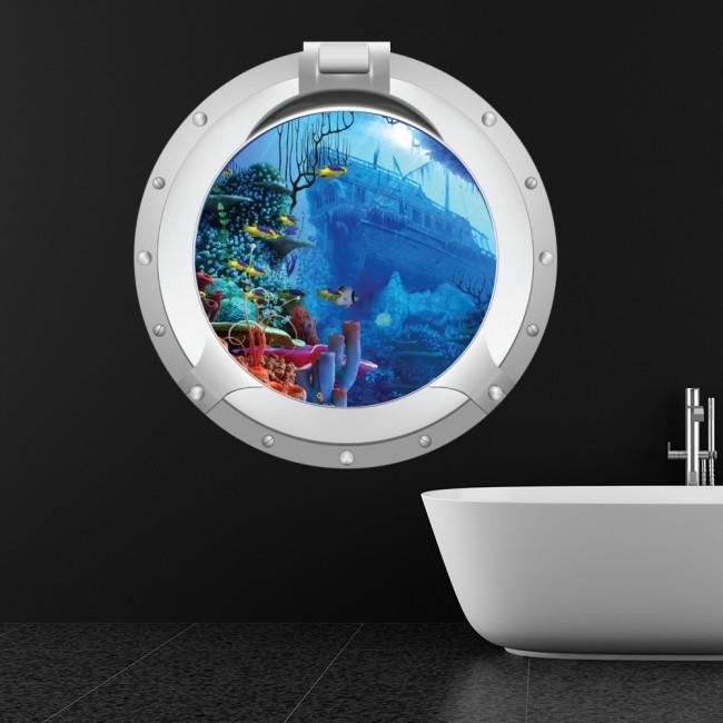 Ship Wreck Porthole Wall Sticker 3D Ocean Wall Decal Kids Room Bathroom  Decor