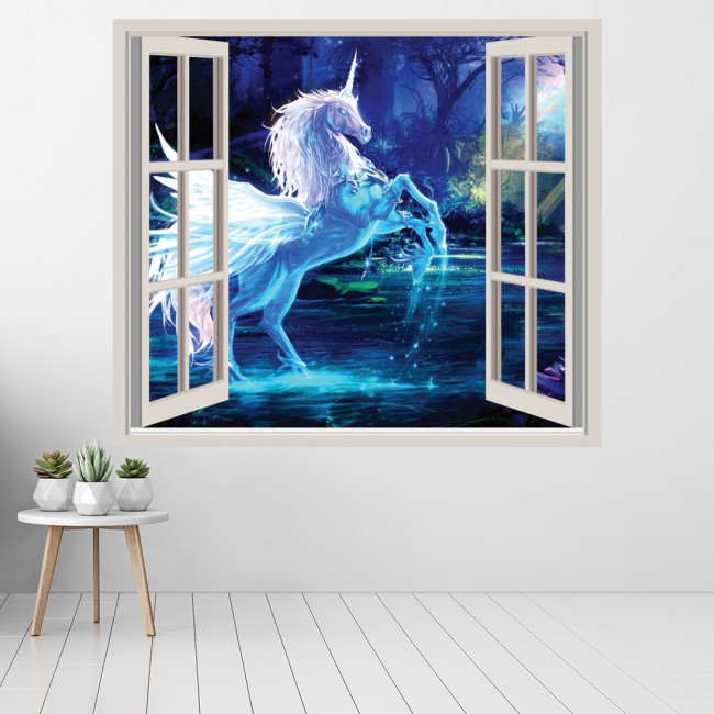 Unicorn 3d Window Wall Sticker Fairytale Fantasy Wall