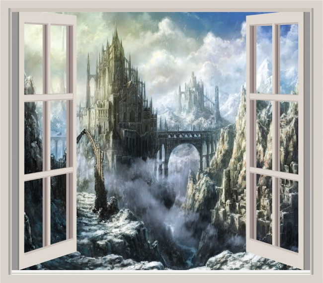 Fantasy Castle 3d Window Wall Sticker