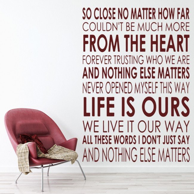 Song Lyric Wall Art so close wall sticker metallica wall art