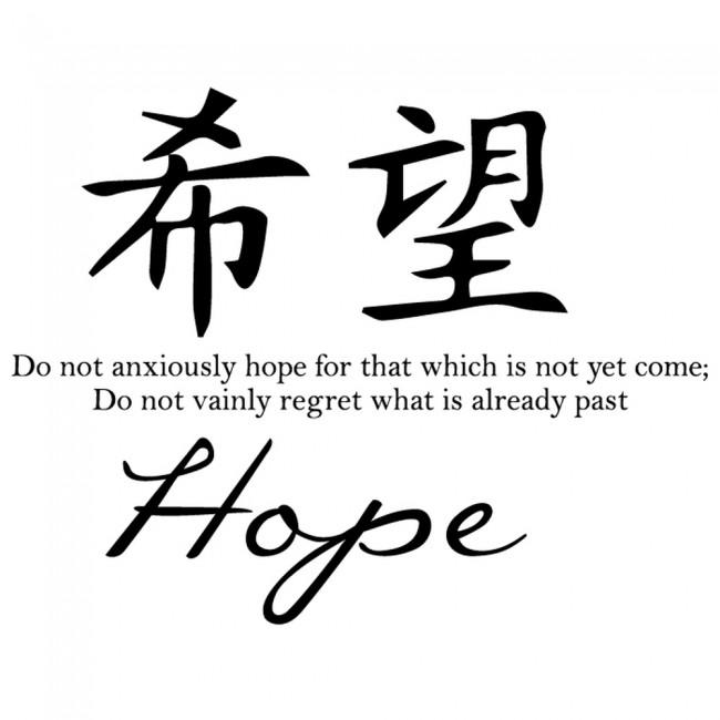 Hope Chinese Proverb Wall Sticker Chinese Symbol Wall Art