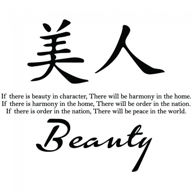 Beauty Chinese Proverb Wall Sticker Chinese Symbol Wall Art