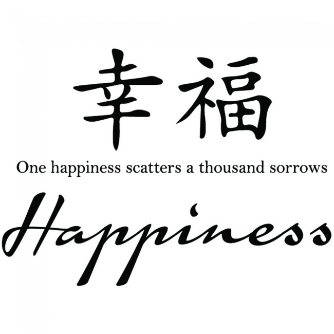 Happiness Chinese Proverb Wall Sticker Chinese Symbol Wall Art