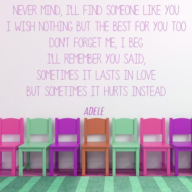 Someone Like You Adele Song Lyrics Wall Sticker
