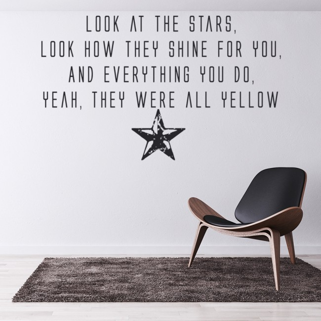 Yellow Wall Sticker Coldplay Wall Art