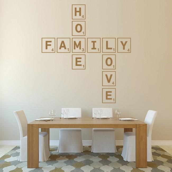 Family Home Love Wall Sticker Scrabble Tiles Wall Art
