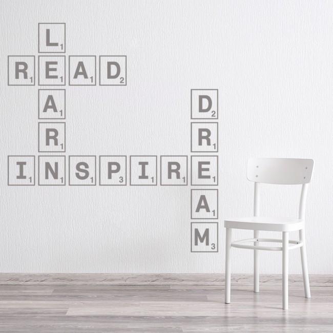Learn Read Inspire Scrabble Tile Wall Sticker