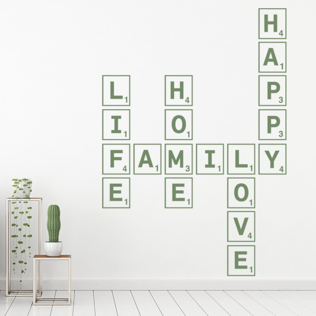 Love Life Home Family Happy Wall Sticker Scrabble Tiles