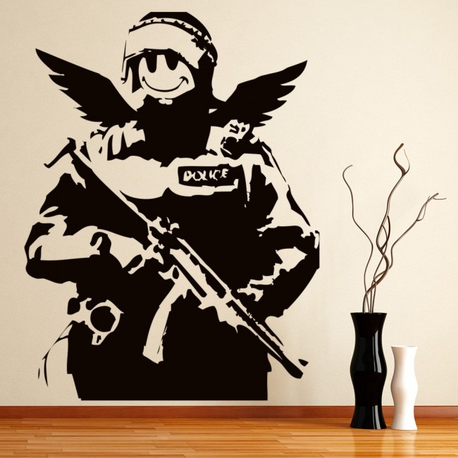 Smile Face Soldier Wall Sticker Banksy Wall Decal Graffiti Street Art Home  Decor