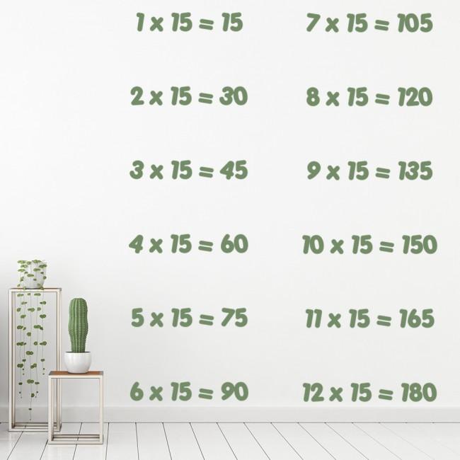 15 Times Table Wall Sticker Math Wall Decal Classroom School Home Decor