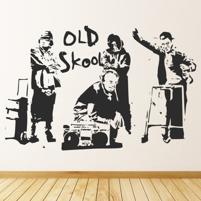 Wall Art Stickers Banksy : Banksy old school wall sticker art