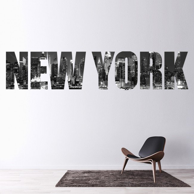 Cny Home Decor: New York City Wall Sticker Skyline Text Wall Decal Bedroom