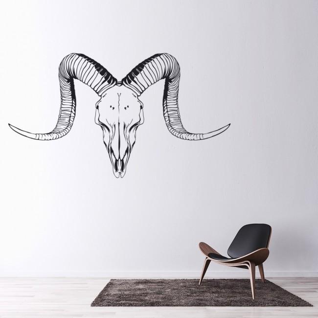 Ram Skull Animals Horns Wall Sticker