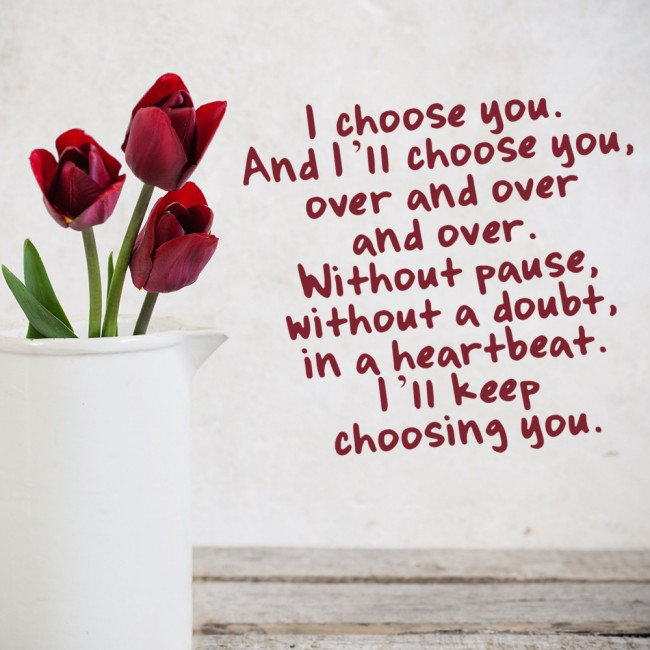 I Choose You Wall Sticker Love Quote Wall Decal Bedroom