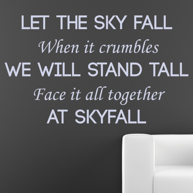 Adele Skyfall Wall Sticker James Bond Song Lyrics Wall Decal Bedroom ...