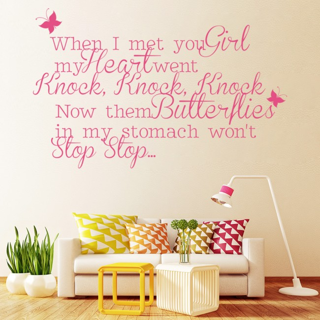 Justin Bieber Wall Sticker One Time Lyrics Wall Decal Pop Music Song ...
