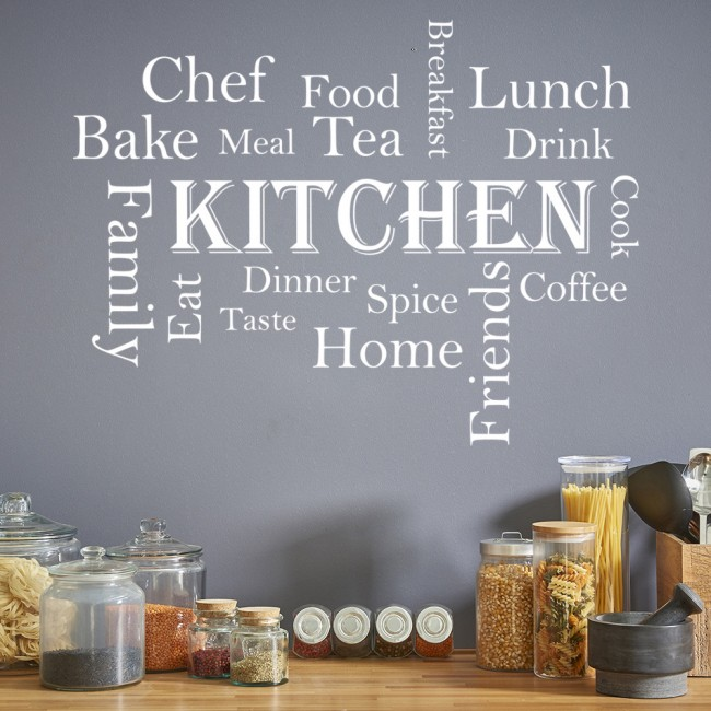 Kitchen Words Wall Sticker Kitchen Quote Wall Decal Food Drink ...