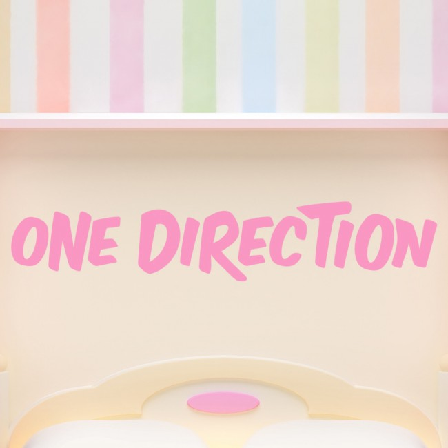 one direction wall sticker band name logo wall decal pop music home decor. Black Bedroom Furniture Sets. Home Design Ideas