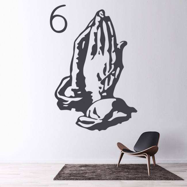 Drake 6 god wall sticker drake album title wall decal hip for Hip home decor