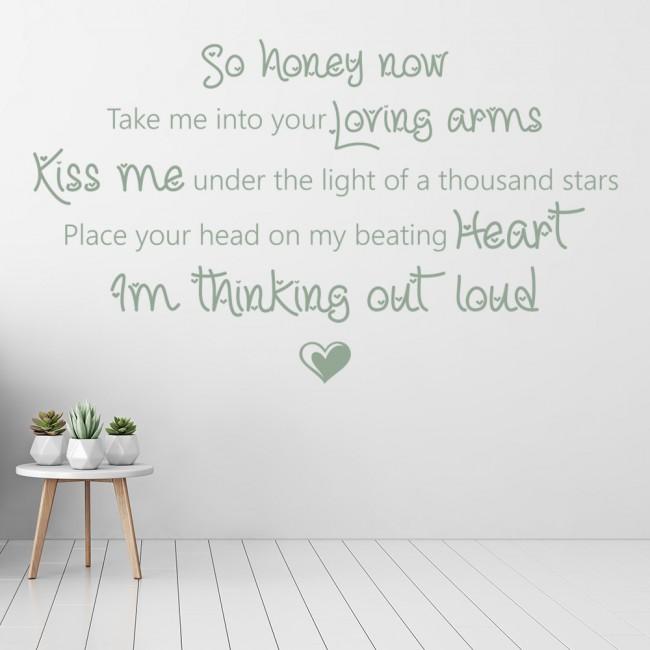 Thinking Out Loud Ed Sheeran Song Lyrics Wall Sticker