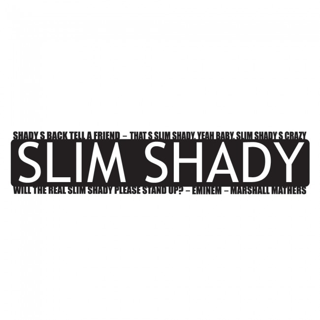 Slim shady stand up wall sticker eminem song lyrics wall for Eminem wall mural