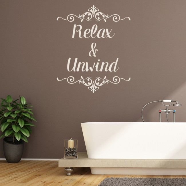 Relax Amp Unwind Wall Sticker Bathroom Quote Wall Decal
