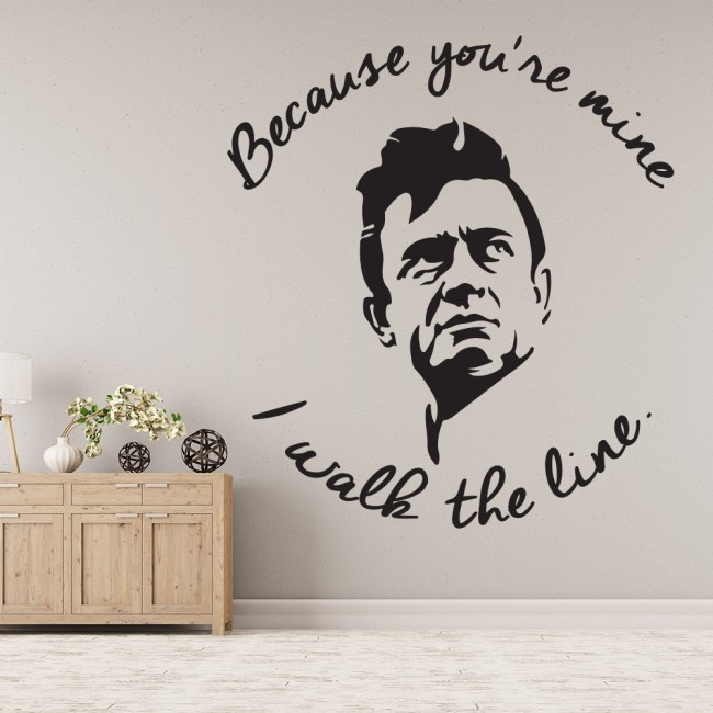 I Walk The Line Wall Sticker Johnny Cash Wall Decal Music Icon Home ...