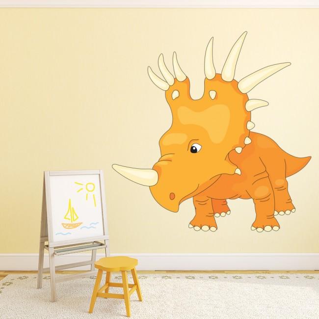 Orange Triceratops Wall Sticker Jurassic Dinosaur Wall Decal Boys ...