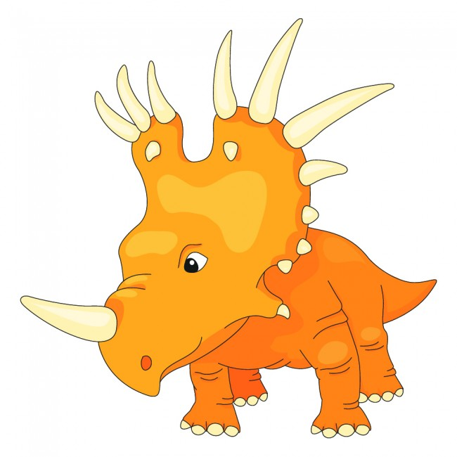 Orange Triceratops Wall Sticker Jurassic Dinosaur Wall