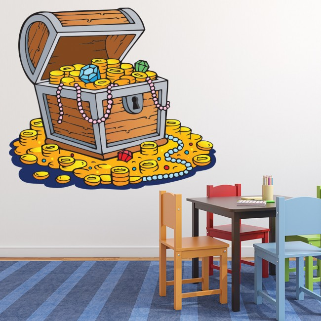 Boys Pirate Bedroom: Pirate Treasure Wall Sticker Pirate Gold Wall Decal Boys