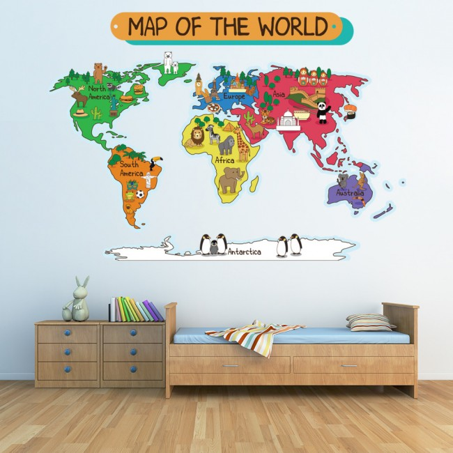 Animal world map wall sticker world map wall decal kids bedroom home ws 41088 02g gumiabroncs Images