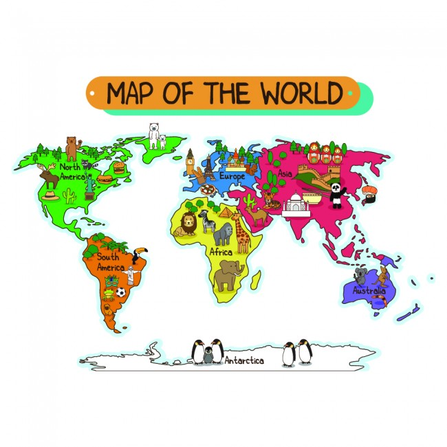 Animal world map wall sticker world map wall decal kids bedroom home ws 41088g gumiabroncs Gallery
