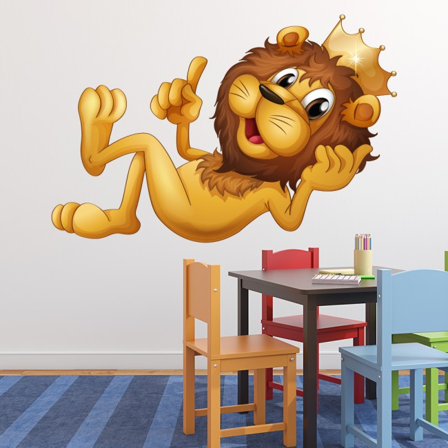lion king wall sticker fun jungle animal wall decal art kids bedroom home decor. Black Bedroom Furniture Sets. Home Design Ideas
