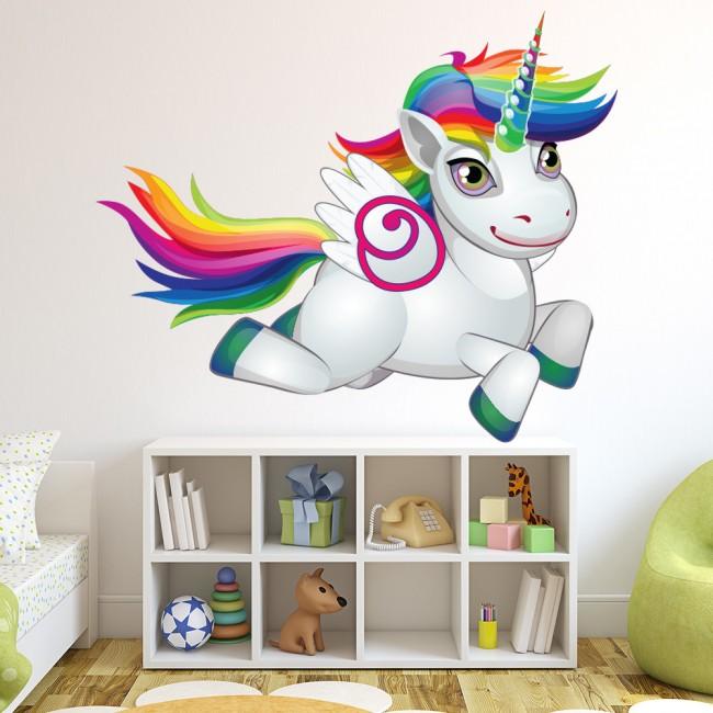 bright rainbow unicorn wall sticker
