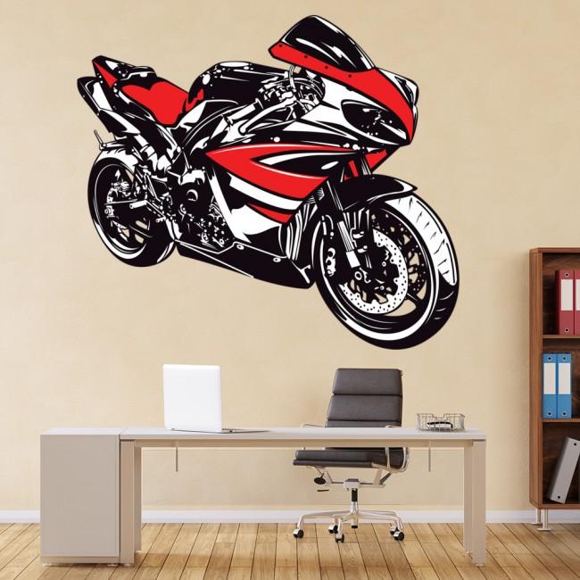 red & white yamaha r1 motorbike wall sticker
