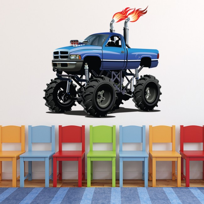 Blue Monster Truck Wall Sticker Cool Vehicle Wall Decal ...
