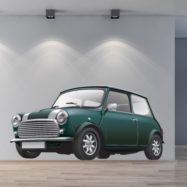 Green Mini Cooper Car Wall Sticker