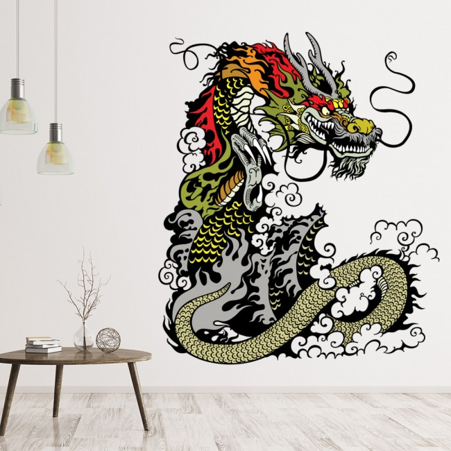 Chinese Dragon Wall Sticker Monster Wall Decal Kids Bedroom Home Decor