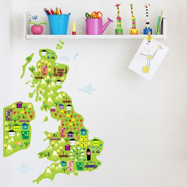 Landmark Map Wall Sticker UK And Ireland Map Wall Decal