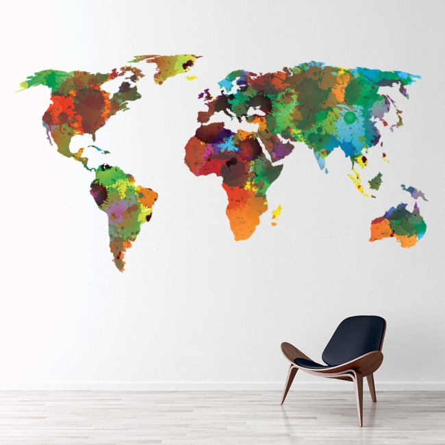 World map wall sticker water colour wall decal art living room home ws 41246 01g gumiabroncs Gallery