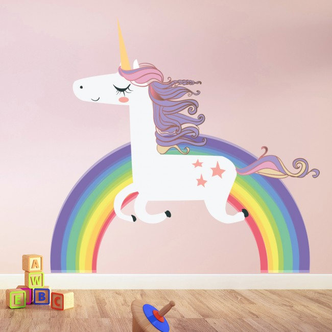 Unicorn Wall Sticker Rainbow Wall Decal Art Girls Bedroom