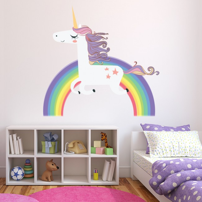 Unicorn Wall Sticker Rainbow Wall Decal Art Girls Bedroom